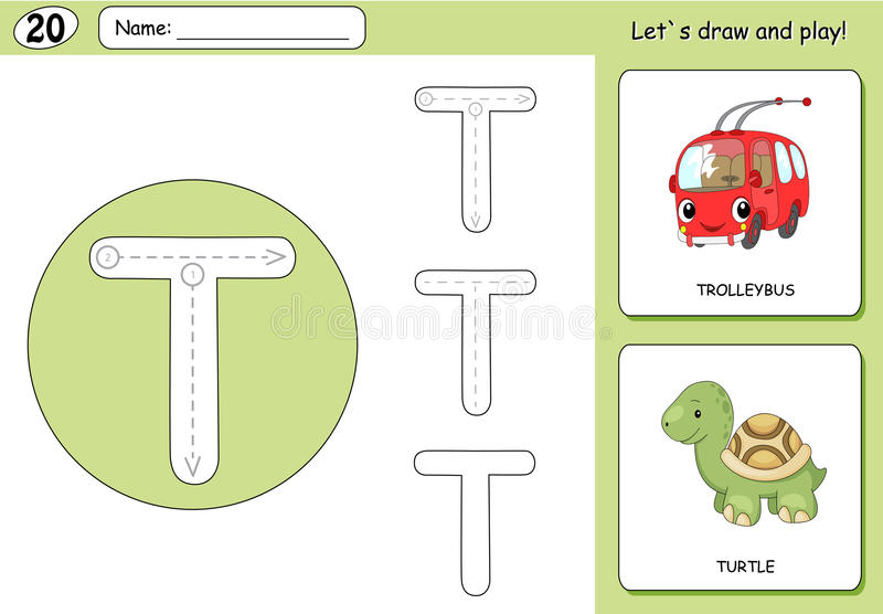 Cartoon trolleybus and turtle. Alphabet tracing worksheet. Writing A-Z, coloring book and educational game for kids vector illustration