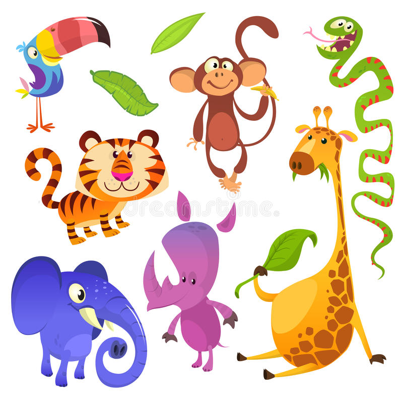 Cartoon tropical animal characters. Wild cartoon cute animals collections vector. Big set of cartoon jungle animals flat vector royalty free illustration