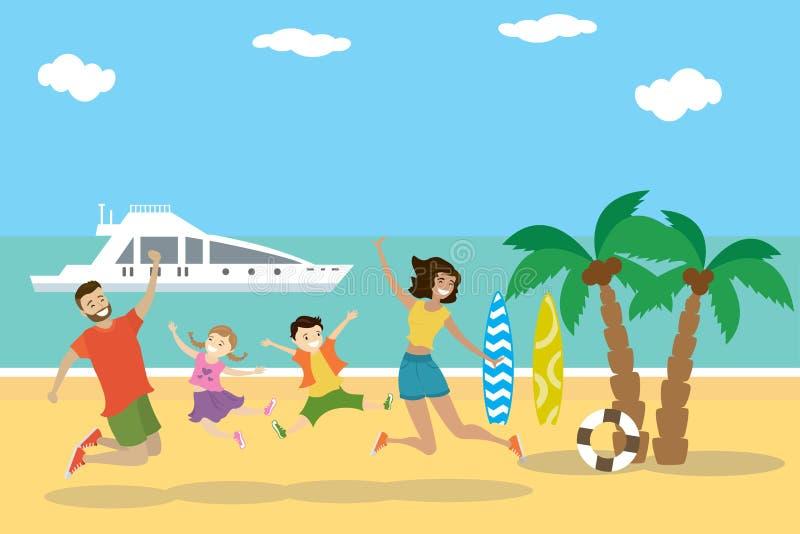 Cartoon tropical beach,Happy family jumping on the beach stock illustration