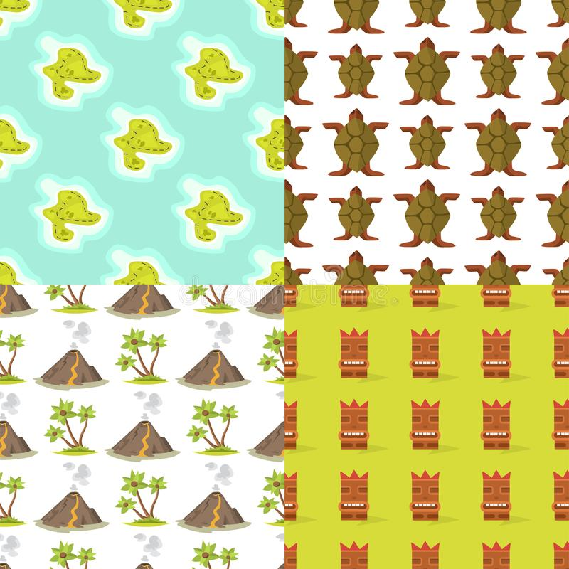 Cartoon tropical exotic island in ocean seamless pattern background exotic lagoon map caribbean aerial sprite seascape. Cartoon tropical exotic island in ocean vector illustration