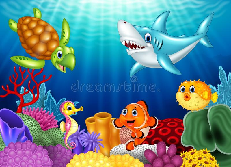 Cartoon tropical fish and beautiful underwater world with corals stock illustration
