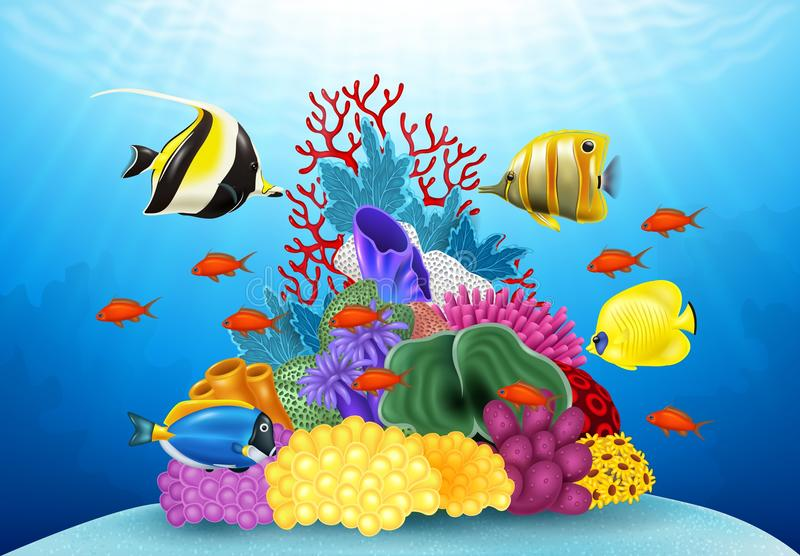 Cartoon tropical fish with beautiful underwater world stock illustration