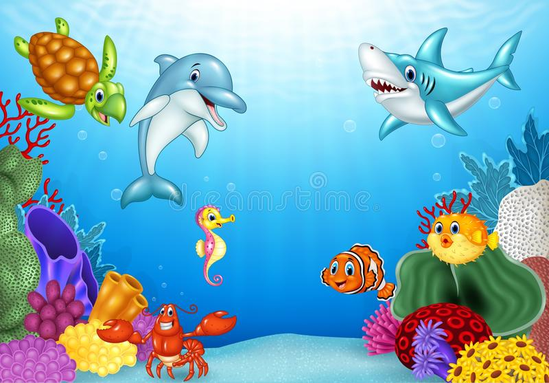 Cartoon tropical fish with beautiful underwater world. Illustration of Cartoon tropical fish with beautiful underwater world stock illustration