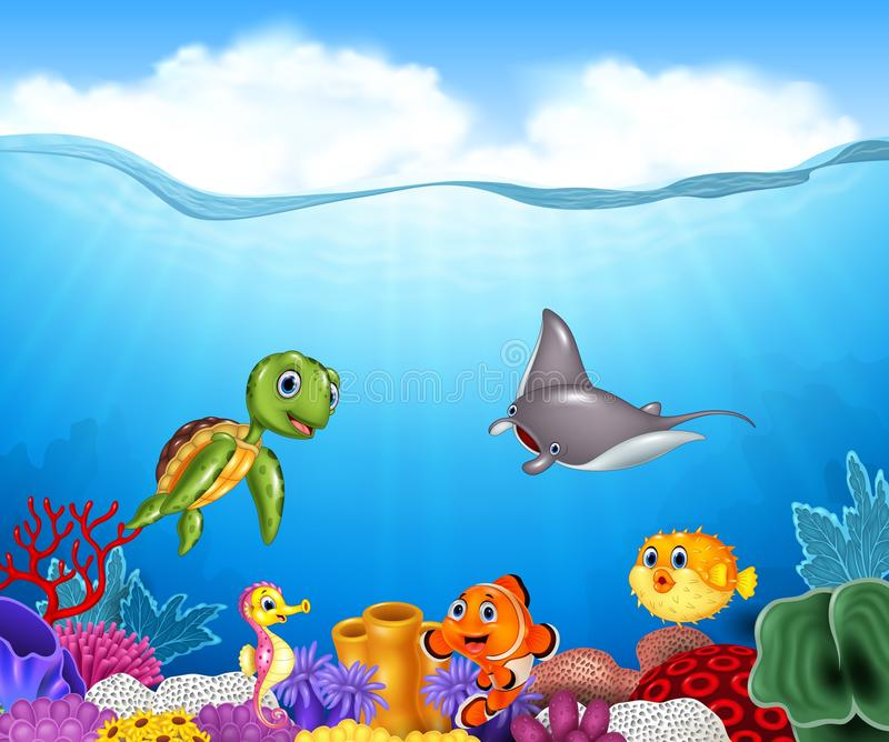 Cartoon tropical fish with beautiful underwater world royalty free illustration