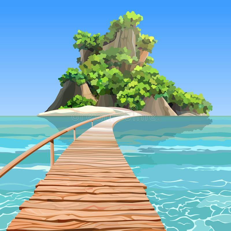 Cartoon tropical island with a pier in turquoise sea vector illustration