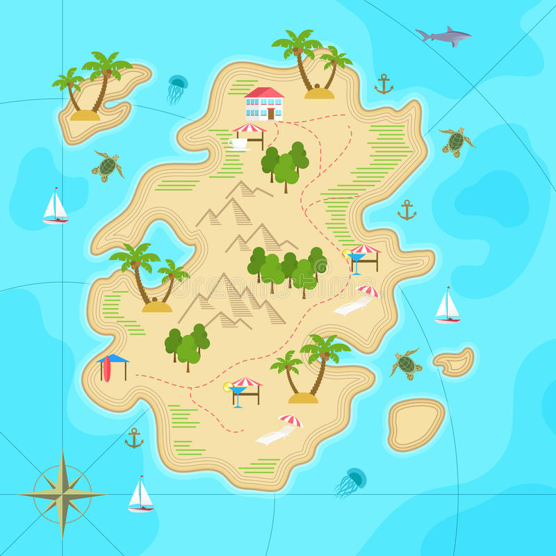 Cartoon tropical island in ocean. Top view exotic island map. Vector game design for app. royalty free illustration