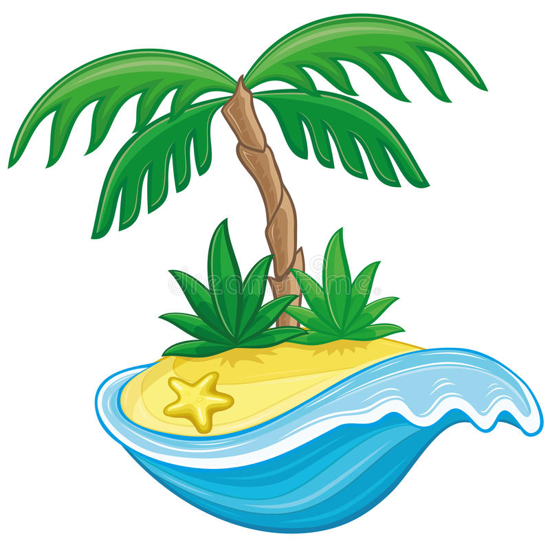 Download Cartoon tropical island. stock vector. Image of island - 32330621
