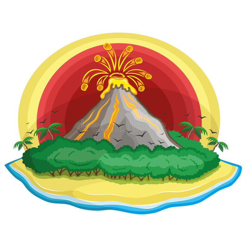 Download Cartoon tropical volcano. stock vector. Illustration of island - 32330650
