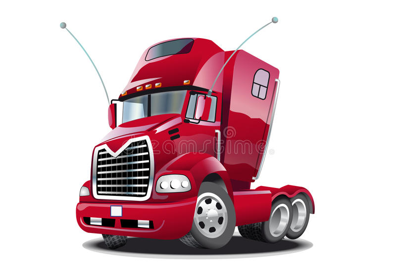 Cartoon truck. This illustration represents a red cartoon stylish Mack tractor truck royalty free illustration