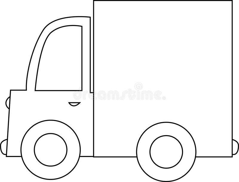 Cartoon Truck Black And White Stock Vector Image 12977956