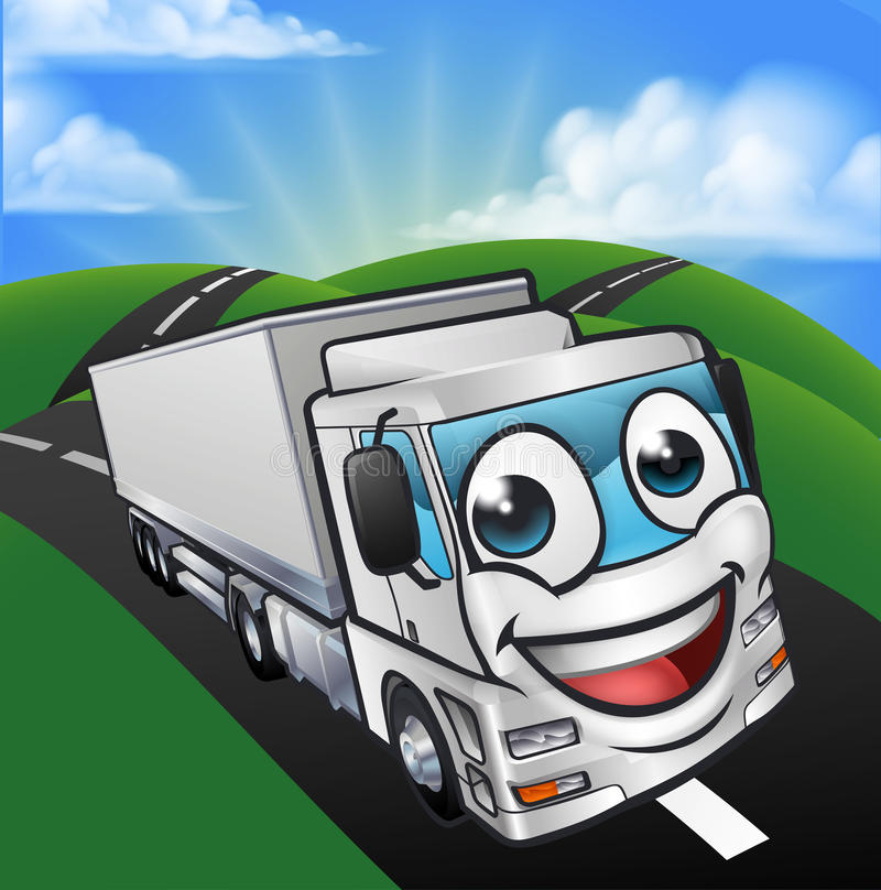 Cartoon Truck Lorry Mascot Character scene. A cartoon man and woman having fun driving in a car on a road trip royalty free illustration