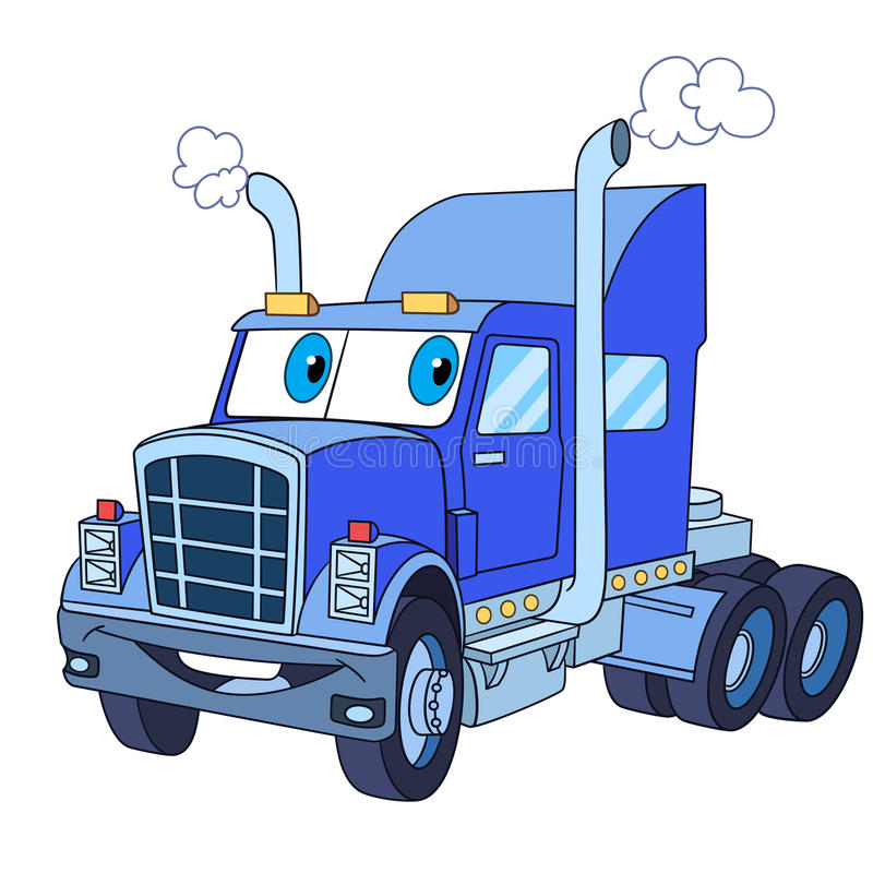 Cartoon truck lorry. Cartoon vehicle transport. Heavy semi truck trailer, lorry, isolated on white background. Childish vector illustration and colorful book stock illustration