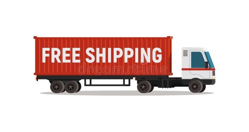 Cartoon truck met transportcontainer geïsoleerd vectorobject Leveringsservice voor gratis verzending stock illustratie