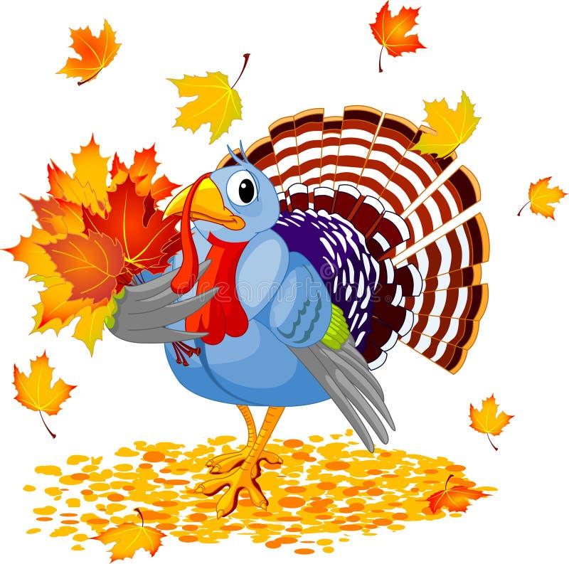 Cartoon Turkey with autumn bouquet. Isolated on white background stock illustration