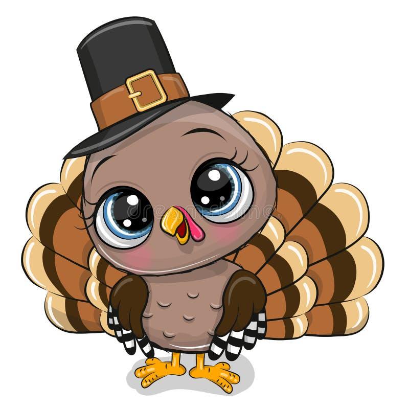 Cartoon turkey bird isolated on a white background. Cute Cartoon turkey bird isolated on a white background vector illustration