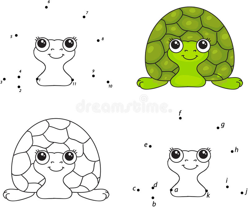 Cartoon Turtle. Coloring Book And Dot To Dot Game For Kids Stock ...