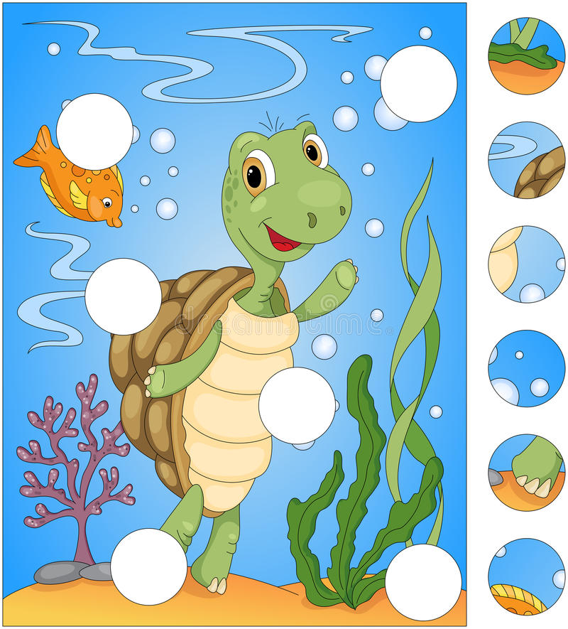 Cartoon turtle and fish. Complete the puzzle and find the missing parts of the picture. Game for kids royalty free illustration