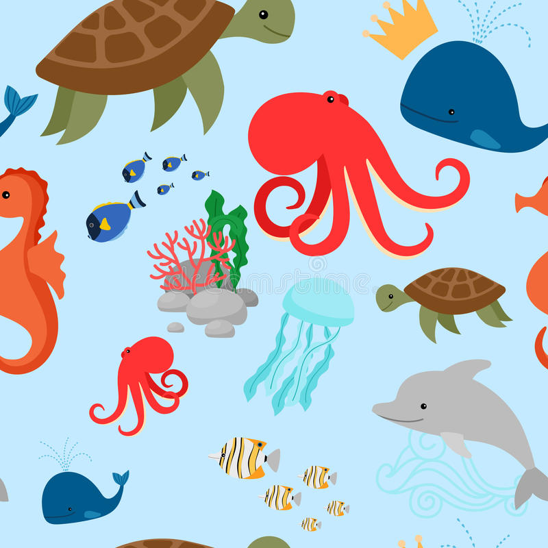 Cartoon turtle, octopus, and fishes pattern stock illustration