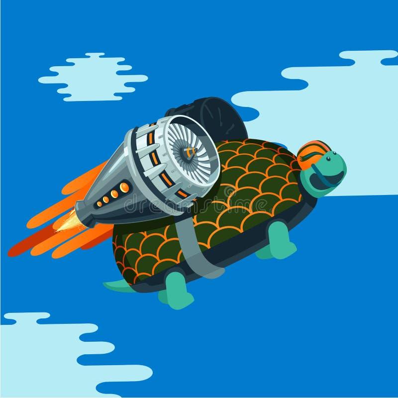 Cartoon turtle with rocket turbine. stock illustration