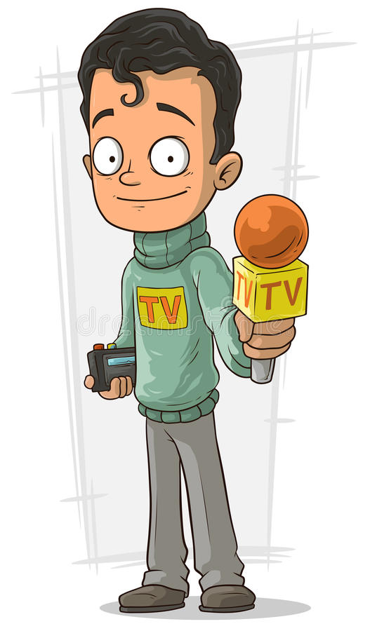 Cartoon TV journalist with orange microphone. A vector illustration of Cartoon handsome TV journalist with orange microphone stock illustration