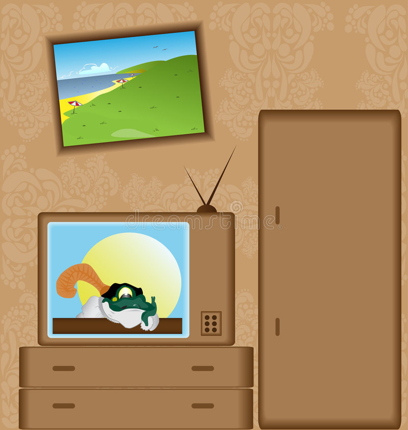 Cartoon with TV-set. Funny vector illustration with a frog prince and beach painting royalty free illustration