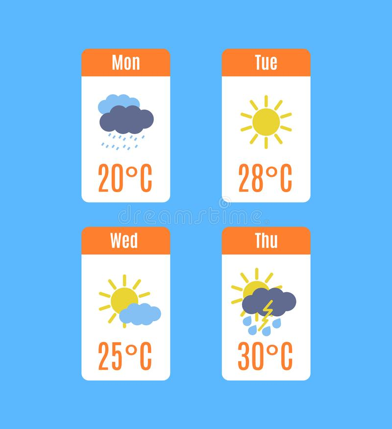 Cartoon TV Weather Forecast Concept Set. Vector stock illustration