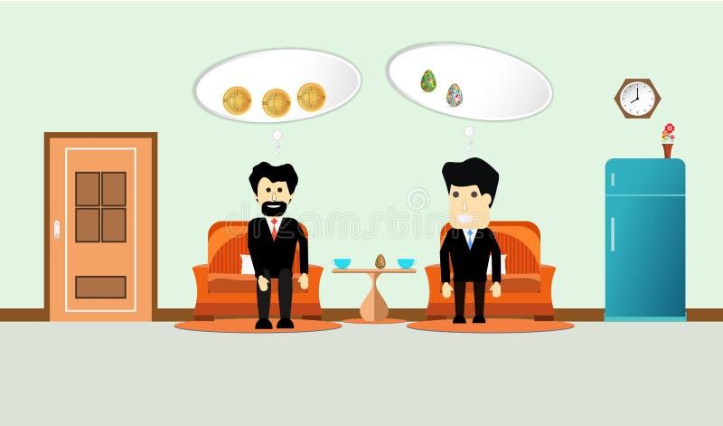 Cartoon two businessman talk financial in living room interior. flat design vector illustration stock illustration