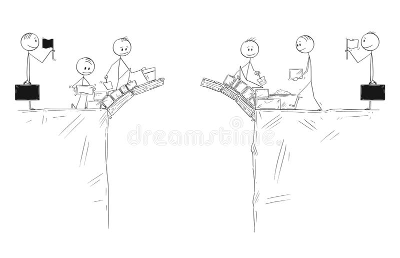 Cartoon of Two Groups of Men Cooperate and Building Together Bridge to Connect and Collaborate. Cartoon stick figure drawing conceptual illustration of two royalty free illustration
