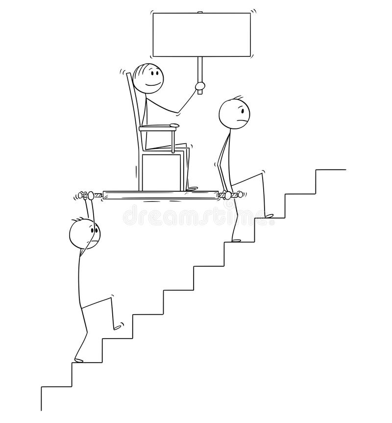 Cartoon of Two Men or Businessmen Carrying Boss or Manager Holding Empty Sign Upstairs in Litter or Sedan Chair vector illustration