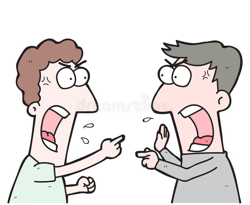 cartoon two people arguing stock illustration