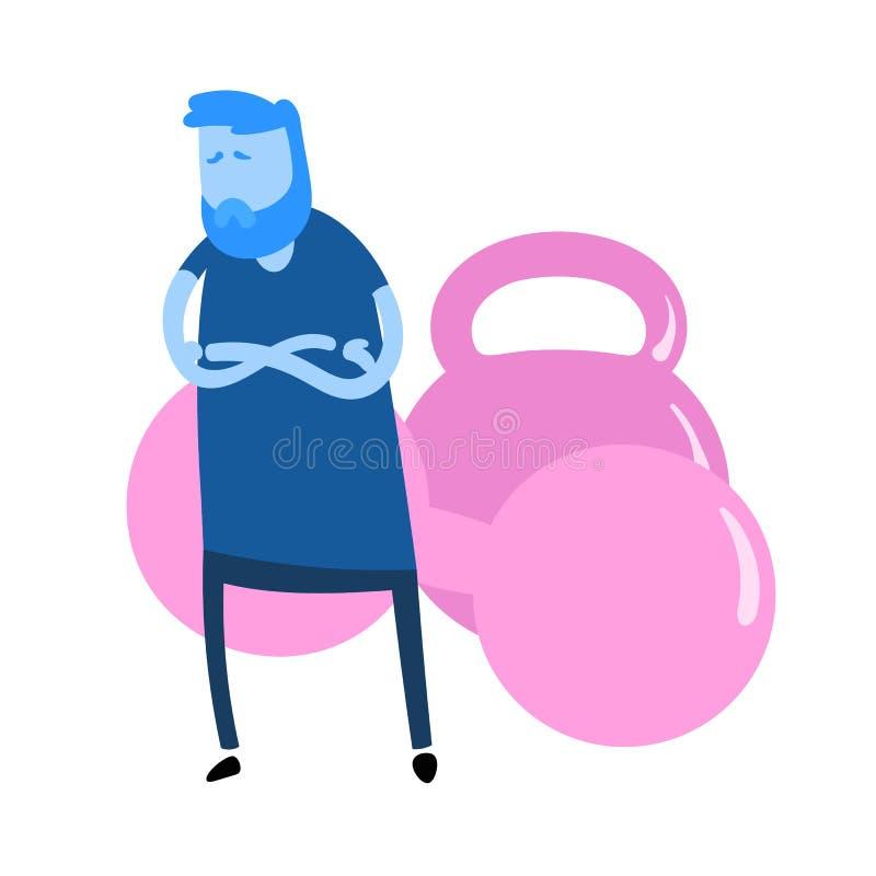 Cartoon-Typ, der vor den Mulden steht und dessen Arme überquert werden Fitness, gesunder Lebensstil Symbol für Cartoon-Design stock abbildung