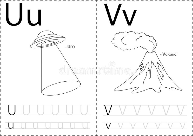 Cartoon UFO And Volkano. Alphabet Tracing Worksheet