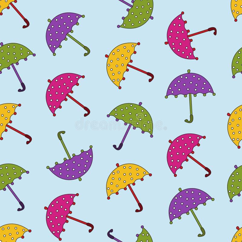 Cartoon umbrellas fall. Seamless pattern with colorful umbrellas stock illustration