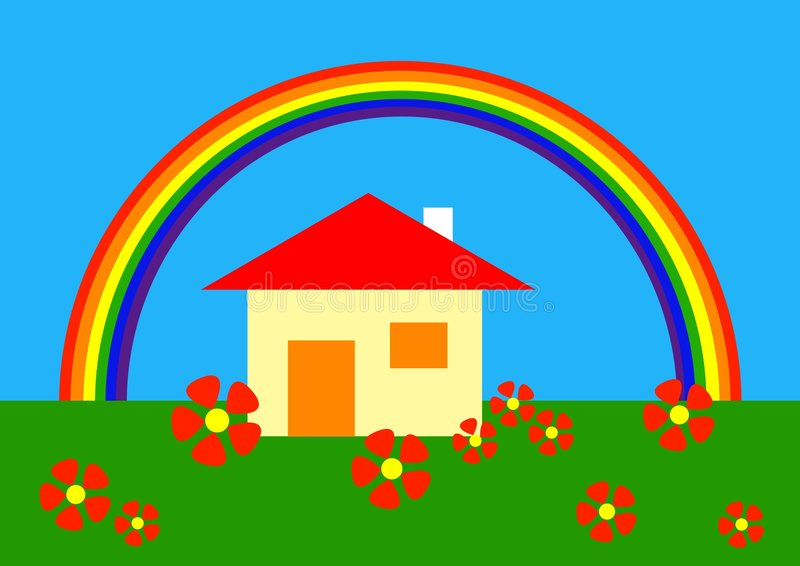Cartoon: under the rainbow vector illustration