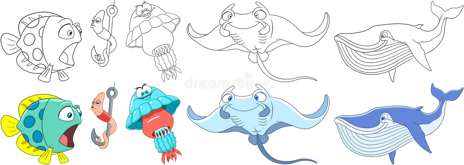 Cartoon underwater animals set. Cartoon animals set. Underwater fish, worm making air kiss, jellyfish medusa, manta ray stingray, blue whale cachalot. Coloring royalty free illustration