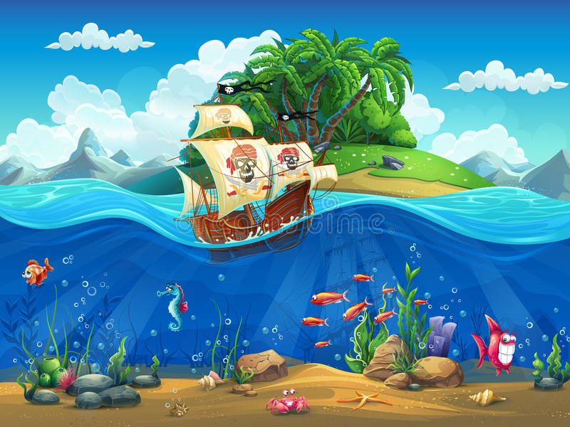 Cartoon underwater world with fish, plants, island and ship.