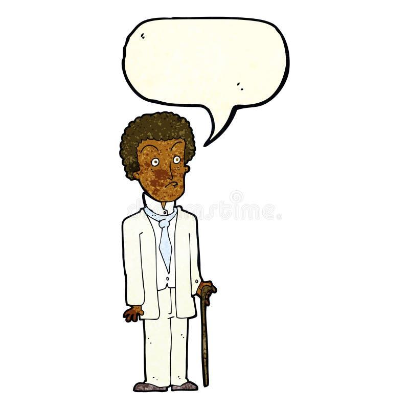 Cartoon unhappy gentleman with speech bubble vector illustration