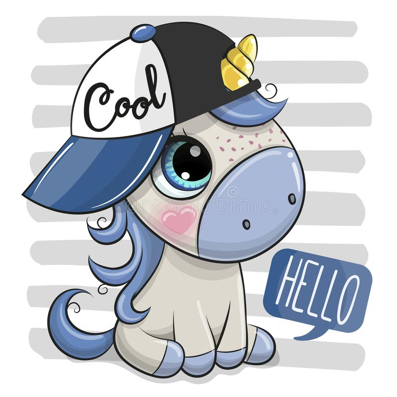 Cartoon Unicorn with a blue cap on striped background. Cartoon Cool Unicorn with a blue cap on striped background royalty free illustration