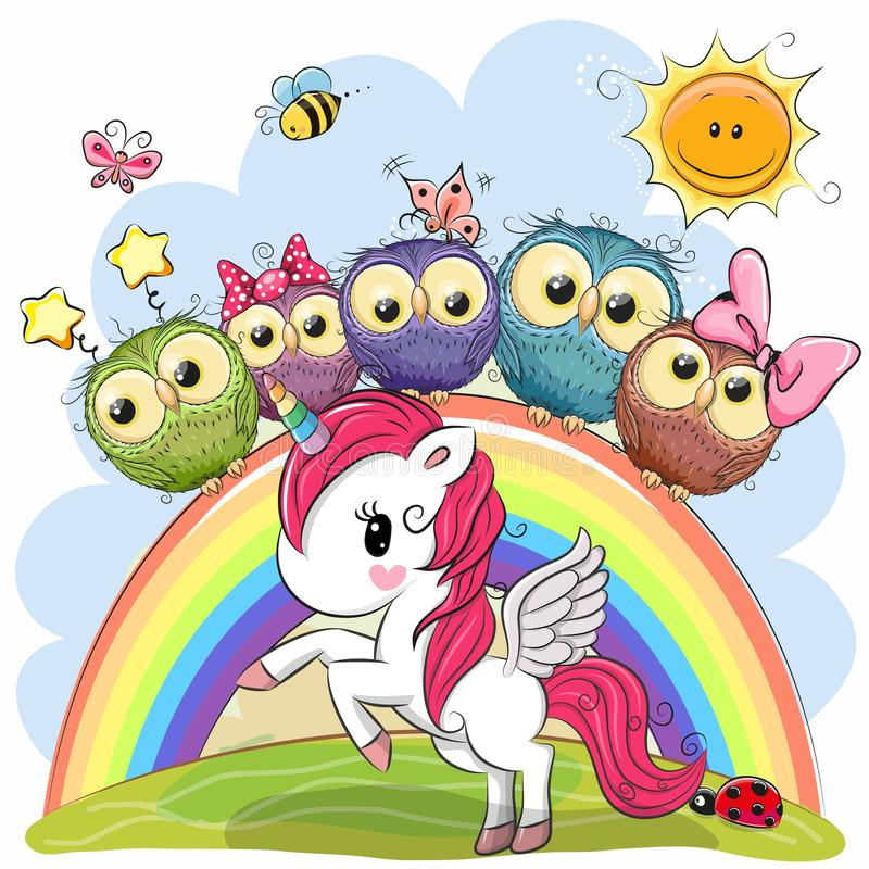 Cartoon Unicorn and Five Cute Owls vector illustration