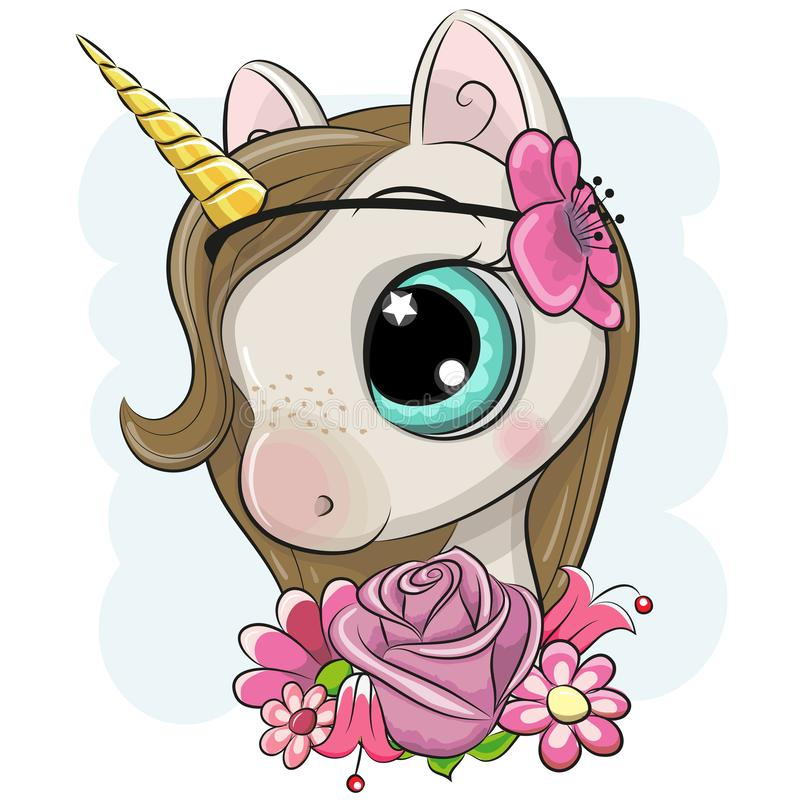 Cartoon Unicorn with flowers on a blue background. Cute Cartoon Unicorn with flowers on a blue background royalty free illustration