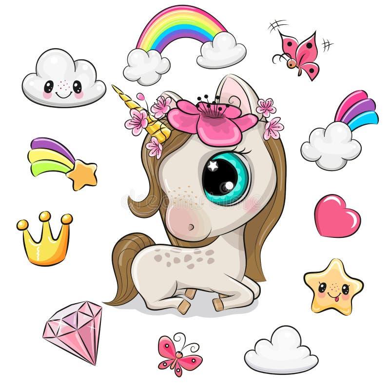 Cartoon unicorn girl and set of cute design elements. Cute Cartoon unicorn girl and set of cute design elements stock illustration