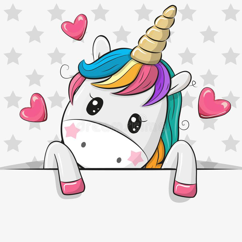 Free Cartoon Unicorn Is Holding A Placard On A Stars Background Royalty Free Stock Images - 121917929