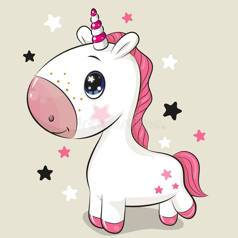 Cartoon Unicorn isolated on a beige background. Cute Cartoon Unicorn isolated on a beige background vector illustration