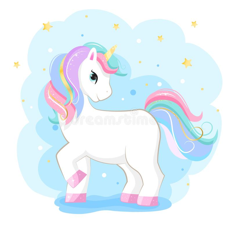 Cute magic cartoon unicorn. Illustration for children royalty free illustration