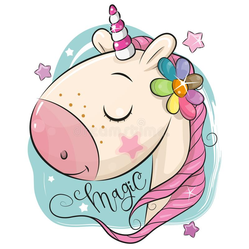 Free Cartoon Unicorn On A Blue Background Stock Photos - 124285063