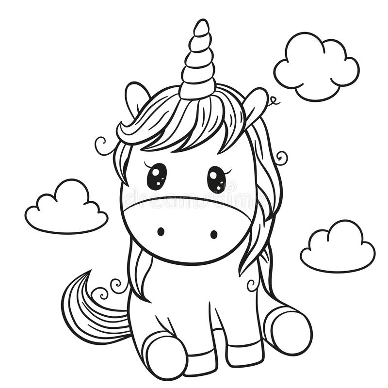Cartoon unicorn outlined for coloring book isolated on a white background royalty free illustration