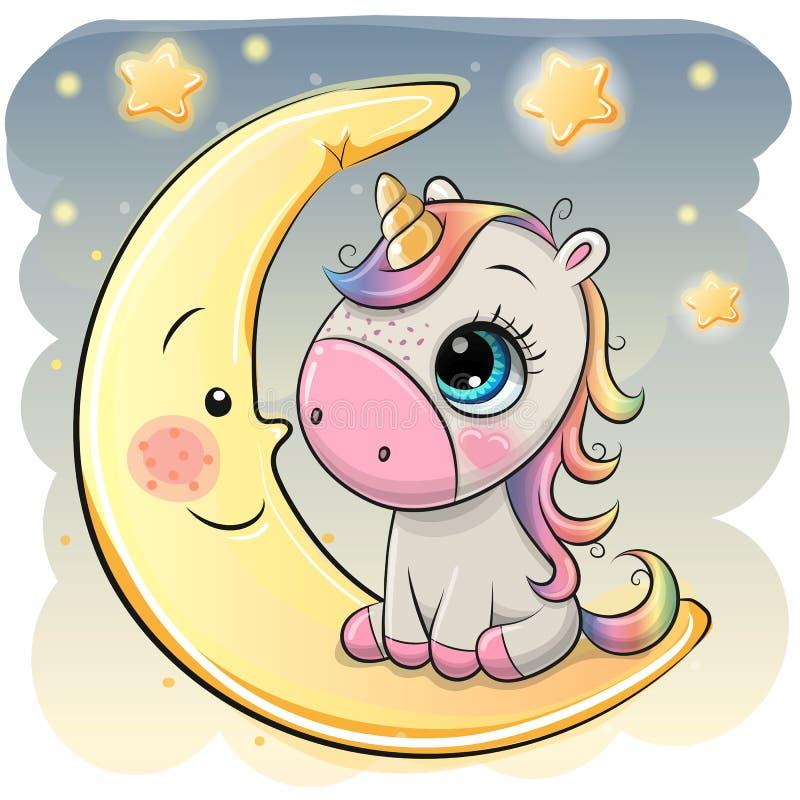 Cartoon Unicorn in a pilot hat is sitting on the moon stock illustration
