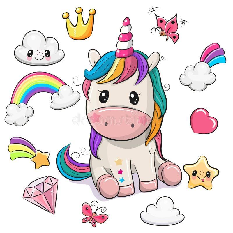Cartoon Unicorn and set of cute design elements. Cute Cartoon Unicorn and set of cute design elements vector illustration