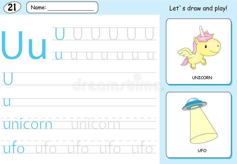 Cartoon unicorn and ufo. Alphabet tracing worksheet: writing A-Z and educational game for kids. Cartoon unicorn and ufo. Alphabet tracing worksheet: writing A-Z vector illustration