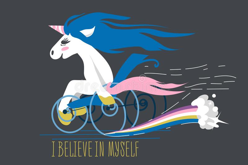 Cartoon unicorn on a wheelchair stock images